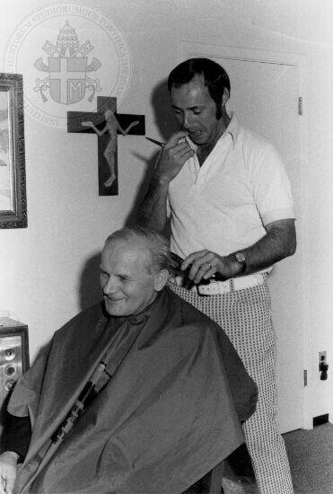 Cardinal Karol Wojtyla having a hair cut. Rome, 1978.