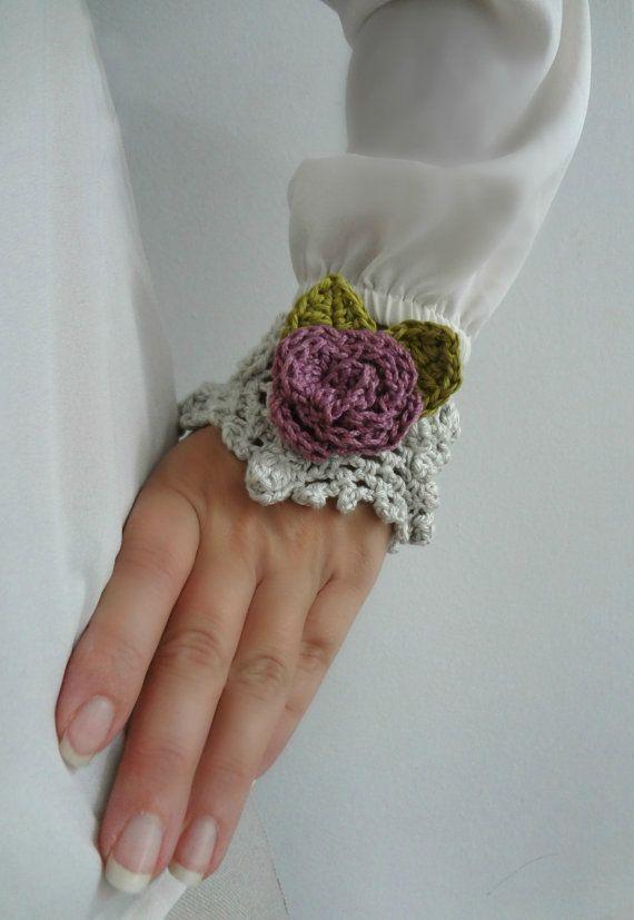 Crocheted Rose Cuff Bracelet Crocheted statement by sewella