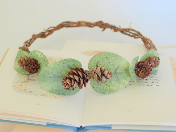 Forest Tree Nymph Pinecone and Vintage Leaf Crown, Bridal Crown, Bridesmaids, Vintage Crown, Bridal Crown, Outdoor Wedding