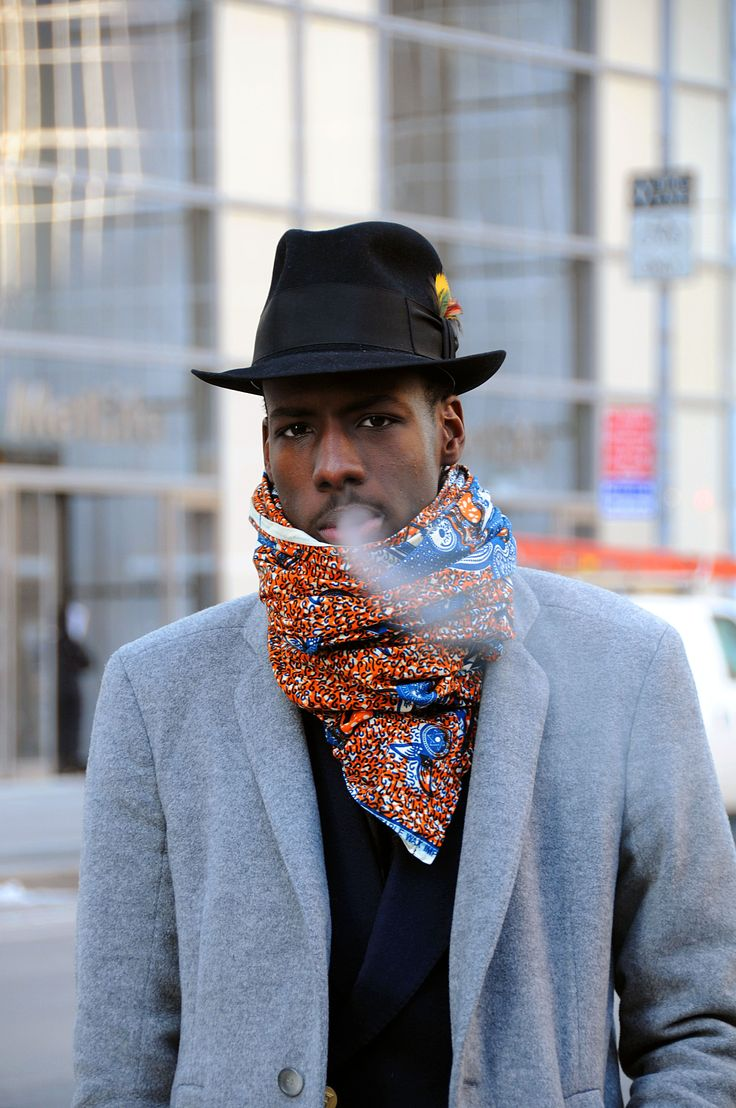Ankara Material #mens #fashion #scarf Love the feathers on the hat