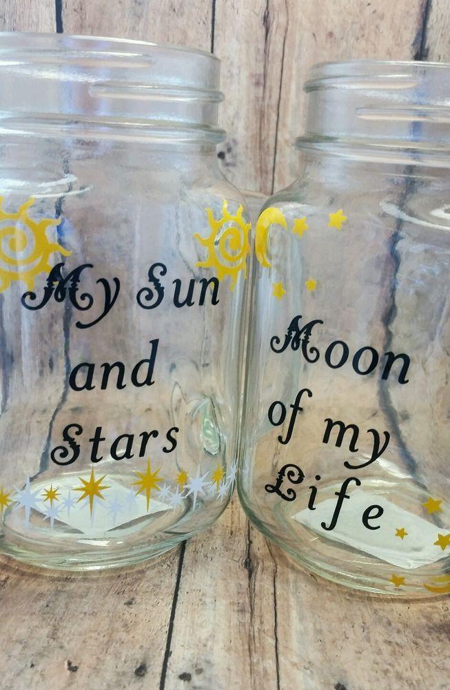Game of Thrones Mug, Mason Jar Cup, My Sun and Stars Handmade clear glass #Handmade