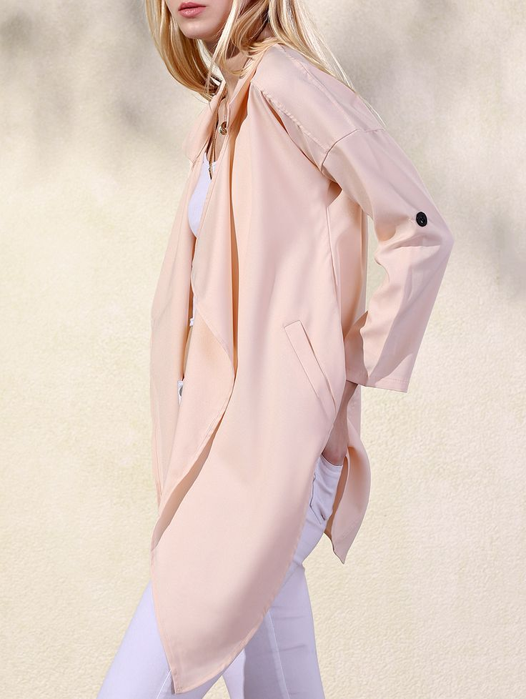 Solid Color Lapel Collar Pockets Trench Coat APRICOT: Jackets & Coats | ZAFUL