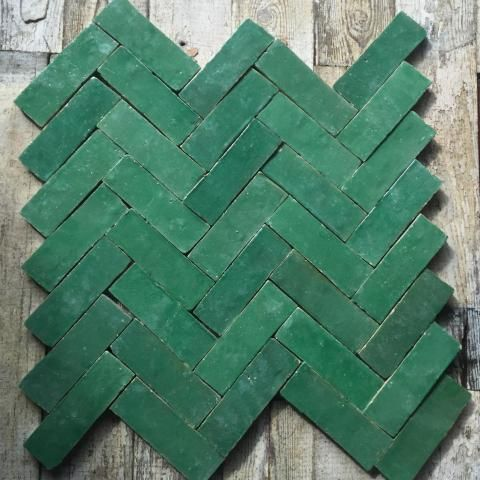 Green Glazed Tiles Herringbone from Bert and May