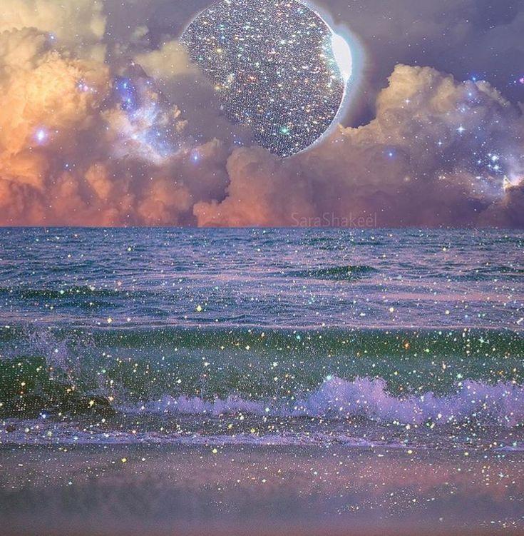 Glitter Ocean And Moon Glitter Photography Aesthetic Photography Aesthetic Pictures