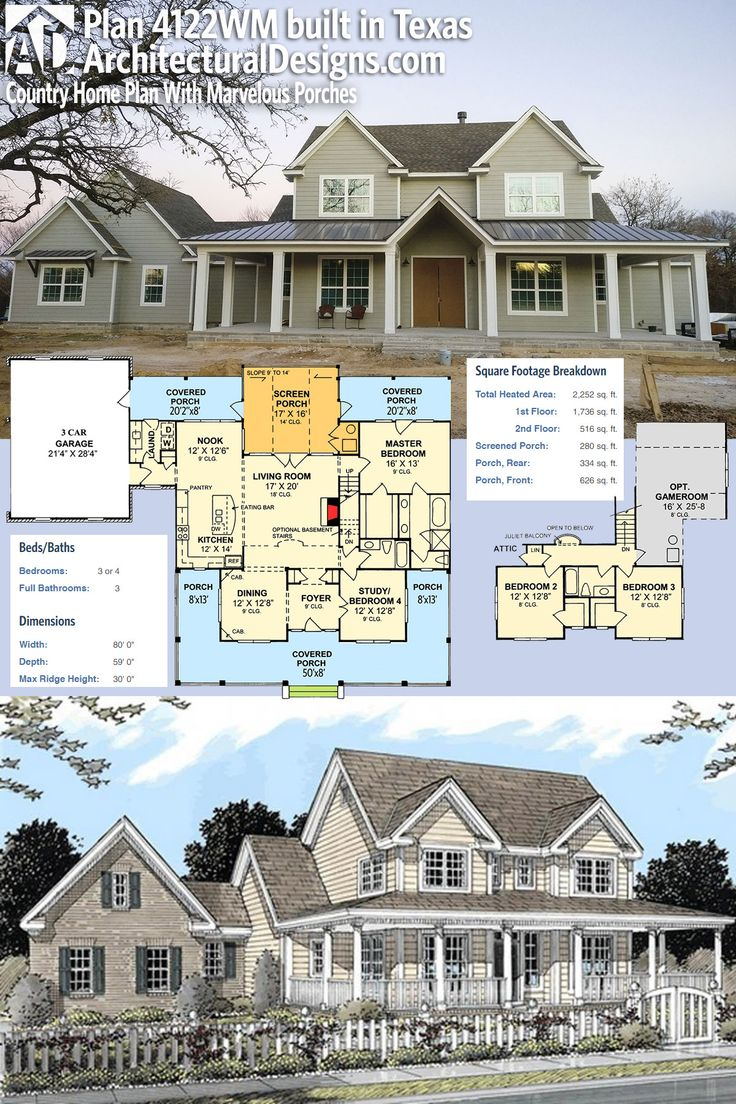 Perfect Plan 4122WM: Country Home Plan With Marvelous Porches