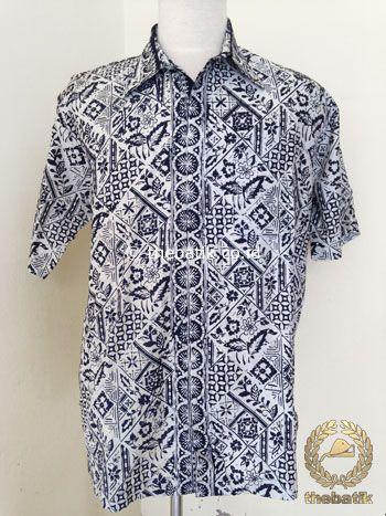 Hem Batik Pendek Motif Tambal Boketan Hitam Putih | #Indonesia Unique  #Batik Tops Shirt #Clothing Men Women http://thebatik.co.id/baju-batik/