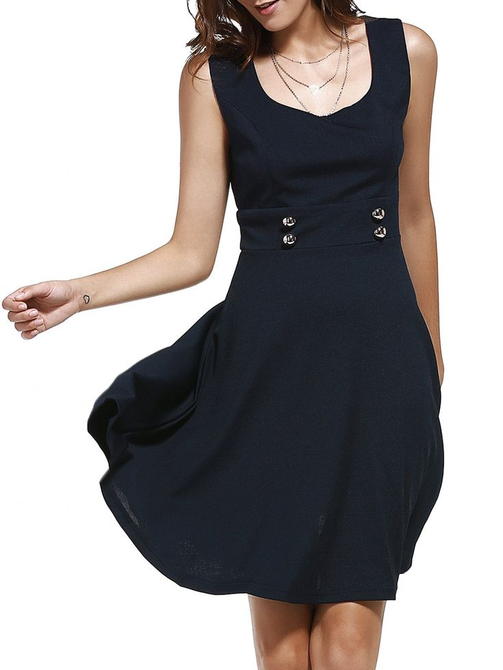 $10.52 Women's Retro Style Square Neck Sleeveless Button Embellished Solid Color Dress