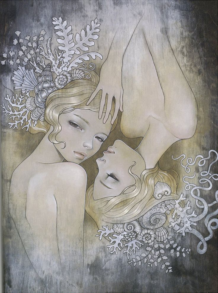 "Two Sisters  oil and graphite on wood 24""x28.5  'Kakurenbou' @ Mondo Bizzarro  2008  by Audrey kawasaki http://www.audrey-kawasaki.com/galleries.php?g=1=54_id=410=2 Sharper version & close up http://www.audrey-kawasaki.com/share/lj/twosister_lj_cls2.jpg on wood tone http://www.flickr.com/photos/violet_peppermint/3145973117/"
