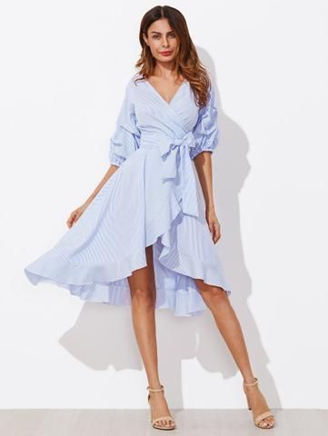 17c3913157f8 The Alice Wonderland Wrap Dress is a beautiful maxi wrap dress with a high  low hem and a belted tie. Pretty blue stripes on a white background make up  this ...