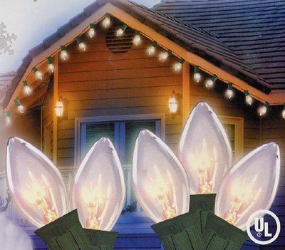 """Set of 25 Clear C9 Energy Saving Christmas Lights - Green Wire by VCO. Save 33 Off!. $19.99. Set of 25 C9 Style Christmas LightsItem #V47E911 Features:Color: transparent clear bulbs / green wire Number of bulbs on string: 25 Bulb size: C9Spacing between each light: 12"""" Lighted string length: 25 feet (7.62m) Total string length: 26 feet (7.92m) Wire gauge: 20Additional Product Features:If one bulb goes out the rest will stay litEach light has a clip on their base so you can eas..."""
