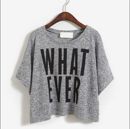 Grey What Ever Crop Tee