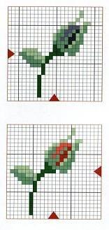 rosebud cross stitch chart