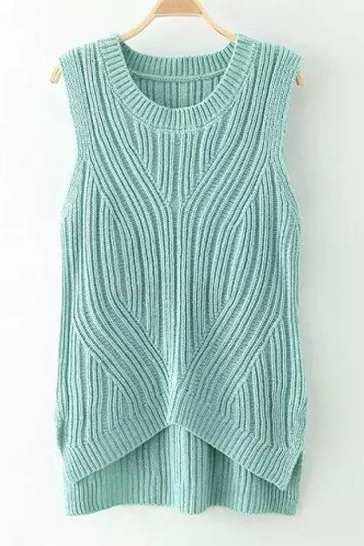 High Low Sleeveless Sweater