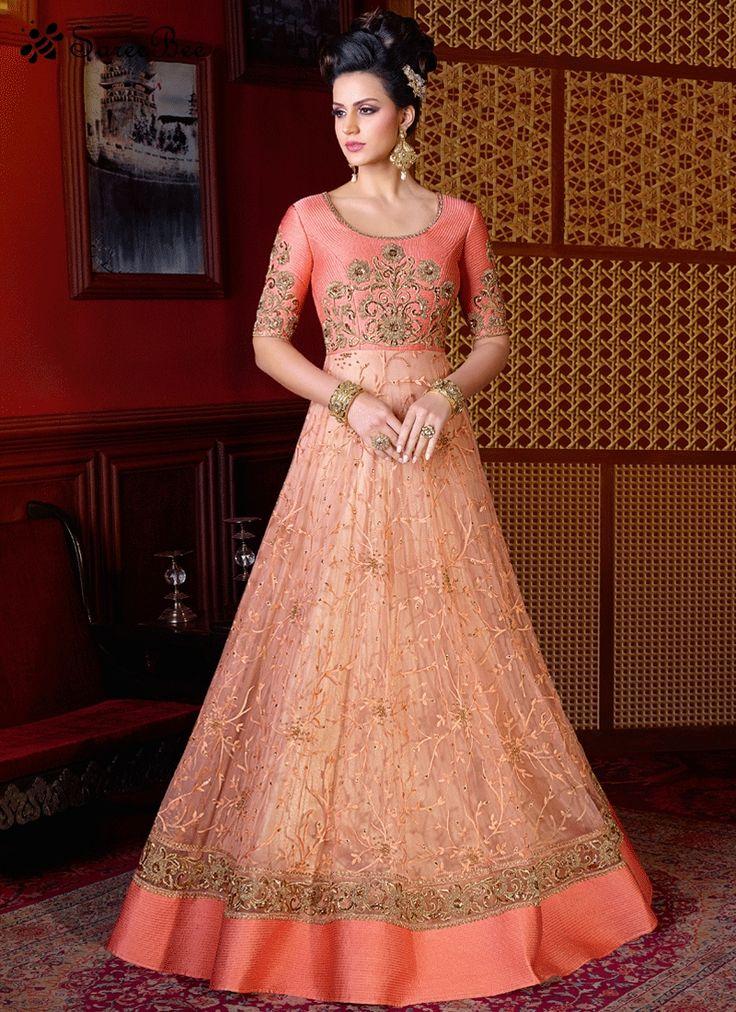 Bedazzling Peach Resham Work Floor Length Anarkali Suit  For More Information WhatsApp 7202080091 Or Visit www.SareeBe.com #red #designer #kurti #fashionista #makeup #UK #outfitoftheday #women-fashion #model #indian #saree #ramadanmubarak #ethnic #picoftheday #cool #summer-style #streetstyle #beauty #styles #rakshabandhan #rakshabandhangift
