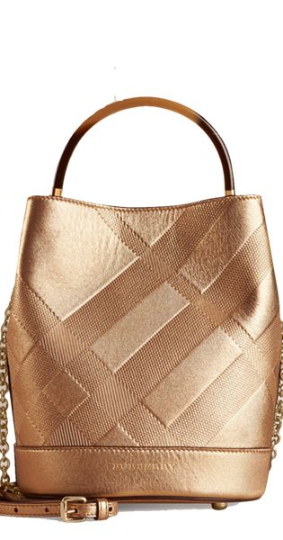 Burberry Small Bucket Bag in Embossed Check Leather  | LOLO❤