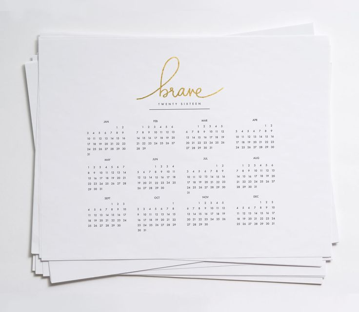 2016 Year at a Glance Calendars | Red Stamp