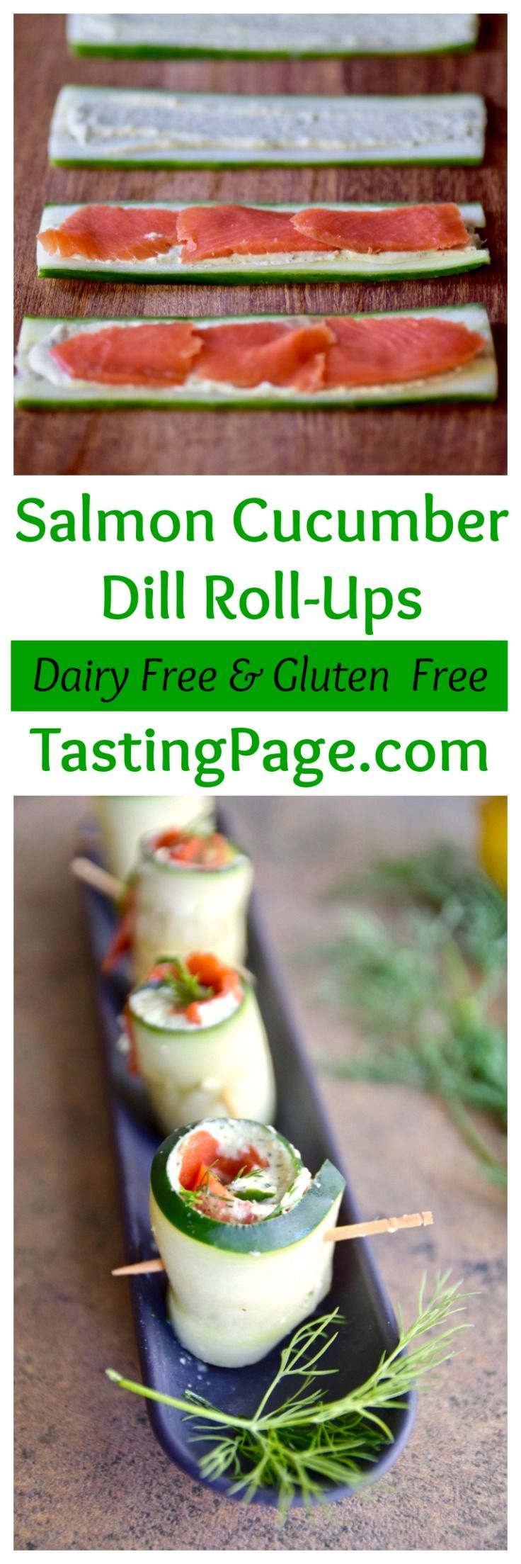Salmon Cucumber Roll Ups are an easy gluten free, dairy free appetizer to serve at the holidays | http://TastingPage.com