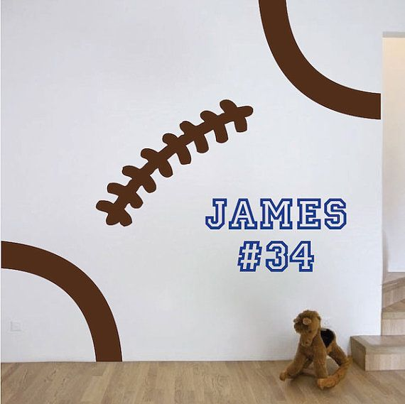 Football Stitches Wall Decal Football Wall by TrendyWallDesigns