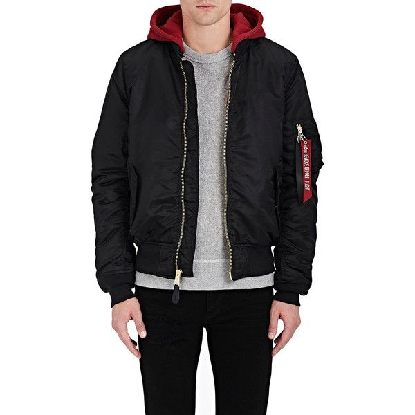 Alpha Industries Men's MA-1 Natus Flight Jacket (£195) ❤ liked on Polyvore featuring men's fashion, men's clothing, men's outerwear, men's jackets, mens leather bomber jacket, mens leather flight jacket, mens real leather jackets, mens hooded jackets and mens leather jackets