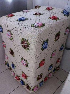 Capa de crochê para maquina de lavar roupas, Belíssimo! (9804)