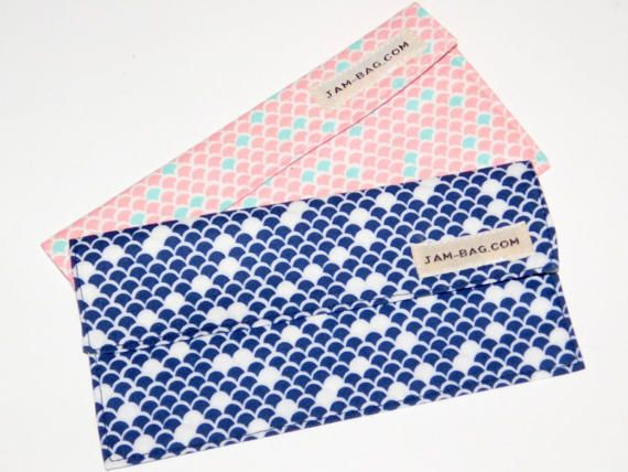Money Management Item, Finance Organizer  Coupon Organizer - Pair of Fabric Cash Envelopes - Wave Pattern Motif, Pink and Navy ------------------------------------------------------------------------- Fabric Envelope, Money Envelope, Cash Holder  Its just nice to have something like this when you keep some cash in your house, in the drawer or in the inner pocket of your bag. This is a perfect accompany for cash budgeting. It can also be used for coupon organizer and/or for receipt holder...