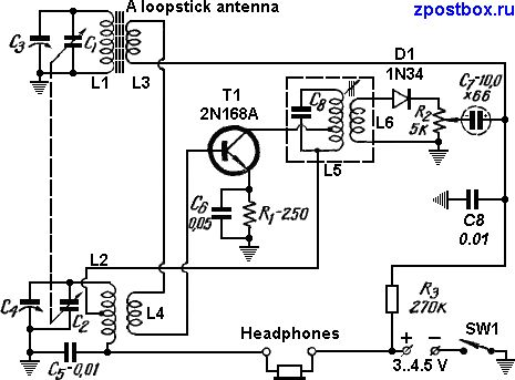 circuit diagram of the one transistor reflex