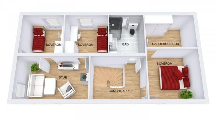I andre etasje er det bad, stue og tre soverom, hvor ett har et tilhørende rom som kan benyttes til oppbevaring eller garderobe.