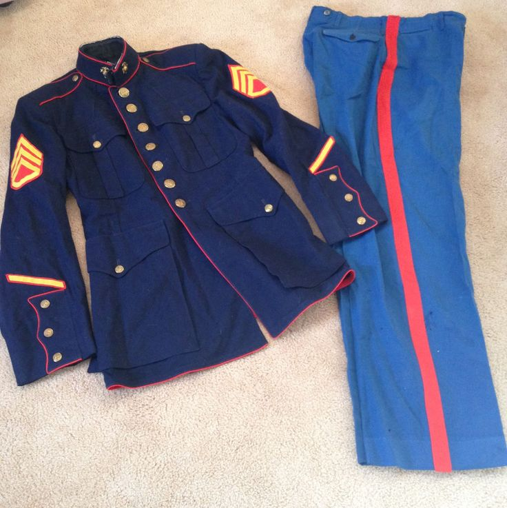 "~GENUINE NAMED USMC MARINE CORPS DRESS BLUES JACKET 35"" CHEST PANTS 30"" X31"" EGA"