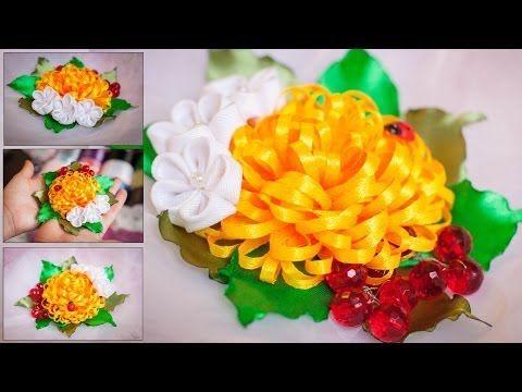 ▶ Яркая Летняя Композиция Канзаши МК / узкая лента / DIY Kanzashi / Tutorial - YouTube
