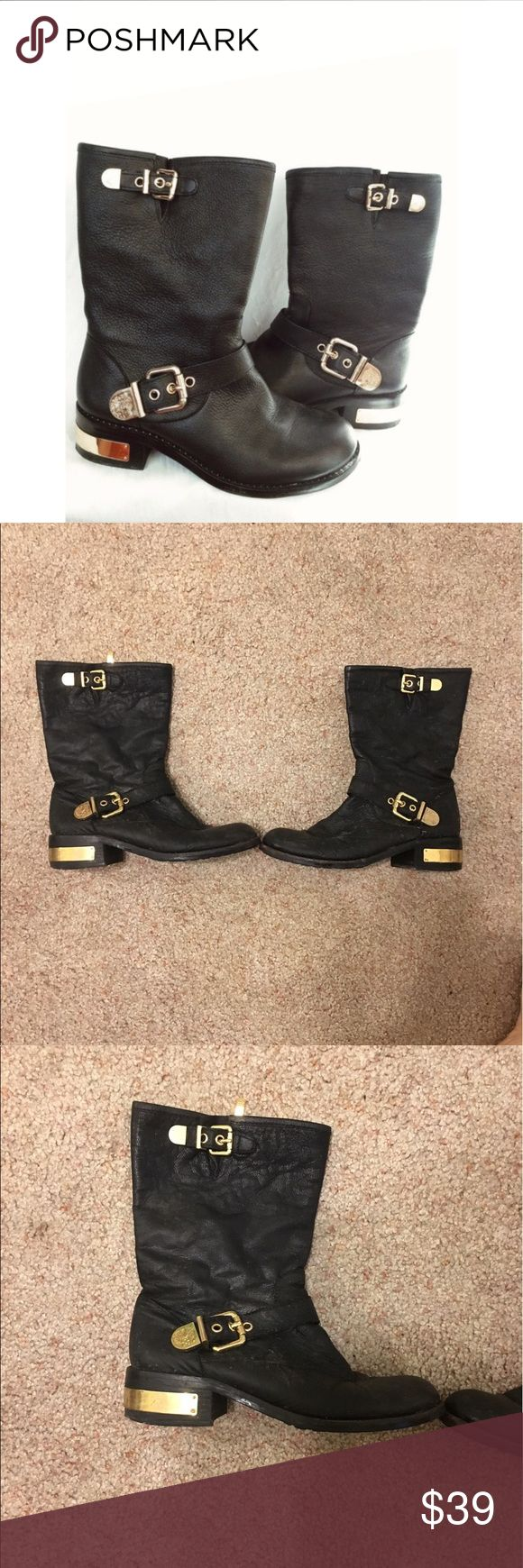 Black leather and gold zip up boots Black leather and gold zip up boots! Super comfortable but do have some wear and tear, they are broken in and on the gold plates on the heels they do have some scuffs. Vince Camuto Shoes Combat & Moto Boots
