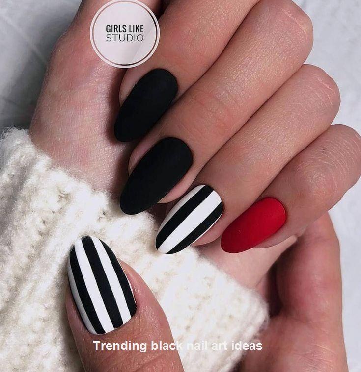 20 Simple Black Nail Art Design Ideas Naildesigns Blacknails Stylish Nails Nail Designs Pretty Nails