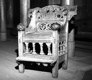 A bishop's chair from Heddal stavkirke dating from the 13th century. Kulturhistorisk museum Oslo.