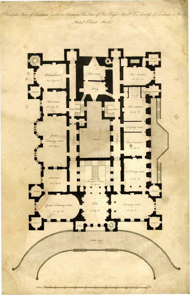 Mansion Drawing Room: Architect's Plan Of Loudoun Castle 1805 Principal Floor