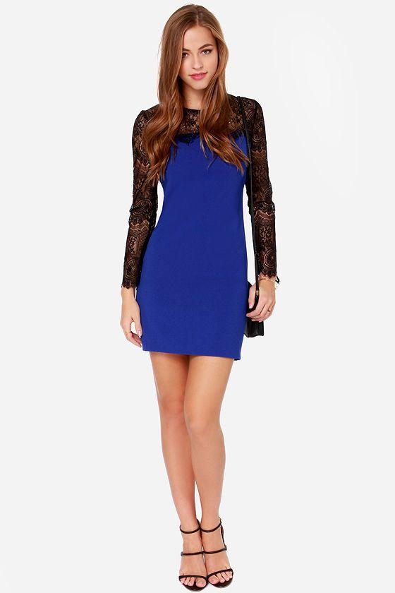 Aryn k blue dress gold