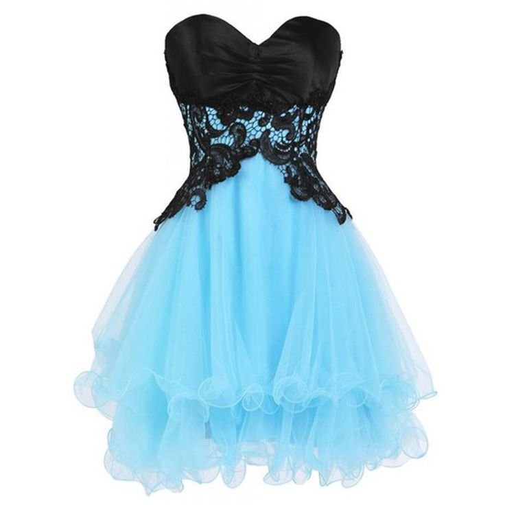Mini Dresses Sweetheart Turquoise Homecoming Dresses with Black Appliques