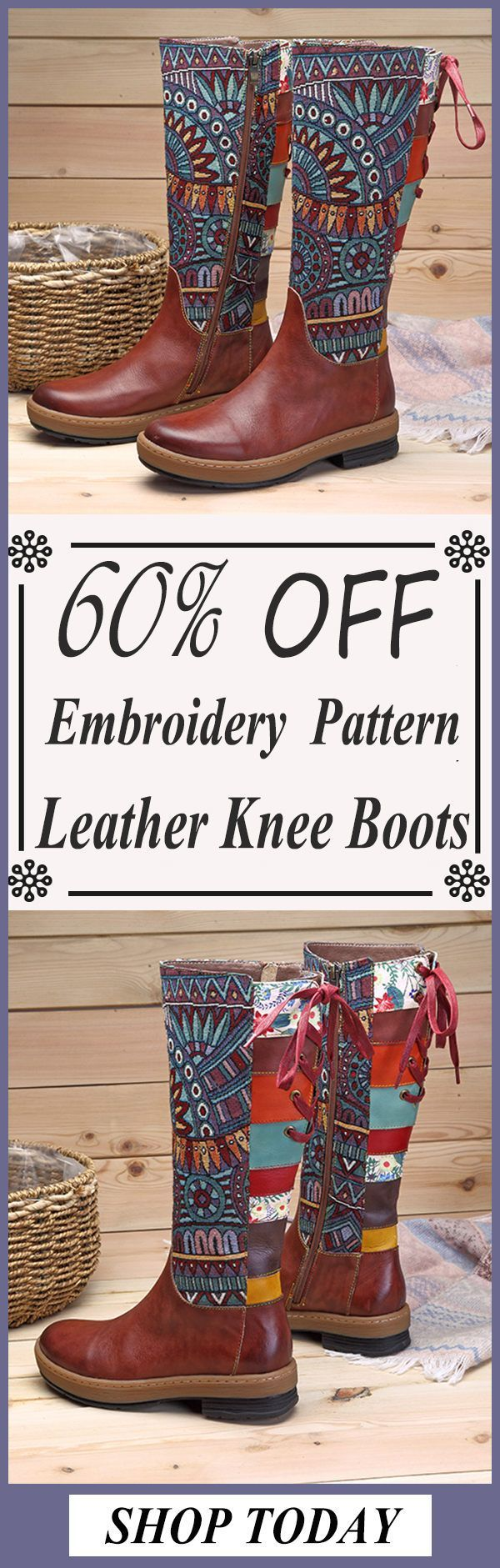 SOCOFY Embroidery Splicing Pattern Flat Leather Knee Boots#coffee #boots #valentinesday