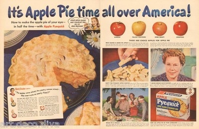 1940s vintage BETTY CROCKER Apple Pie Time KANKAKEE County IL
