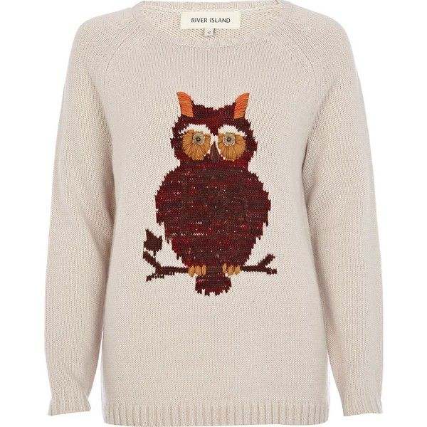 River Island Beige Fairisle Owl Jumper ($53) ❤ liked on Polyvore featuring tops, sweaters, jumpers, shirts, owl shirt, fair isle sweater, long sleeve sweaters, owl sweater and long sleeve shirts