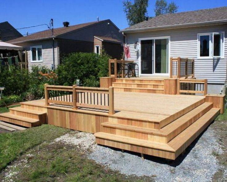 Landscaping And Outdoor Building , Great Small Backyard Deck Designs : Solid Wood Small Backyard Deck Designs