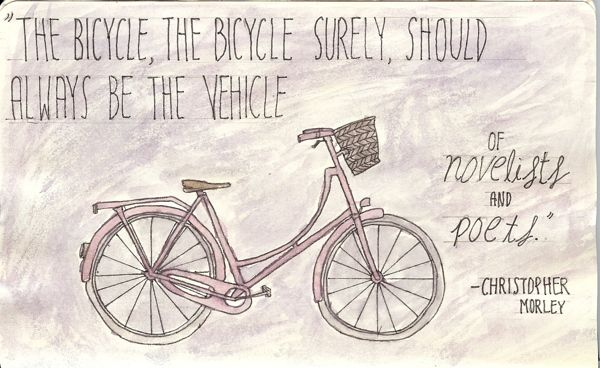 From my Moleskine - Bicycle! In finerliner pen and watercolours   Tali Kord