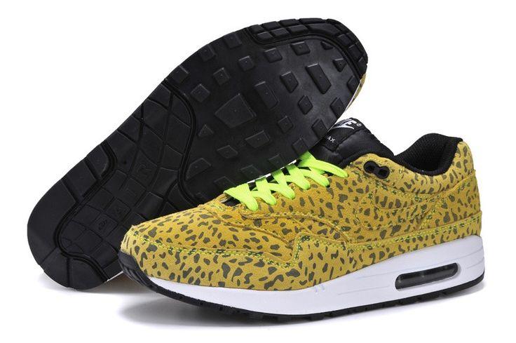 Nike Air Max 1 authentique homme de Leopord volts jaunes chaussures blanches noires (FR4TH)