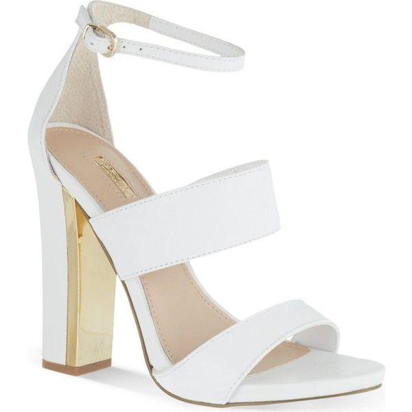 Gossip high-heeled sandals found on Polyvore featuring shoes, sandals, heels, high heels, sapatos, white, block heel shoes, white shoes, white sandals and vegan sandals