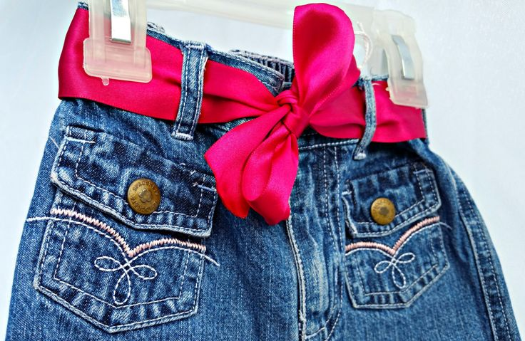 Toddler size 24 mo. upcycled toddler jeans with Black Cat and Satin belt, girls clothing, toddler clothing, toddler jeans, upcycled clothing by madewiththekids on Etsy