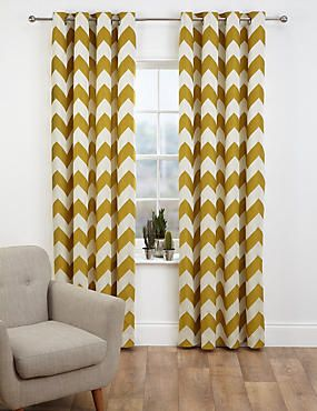 create a statement in a minimalist room with these chevron mustard yellow curtains