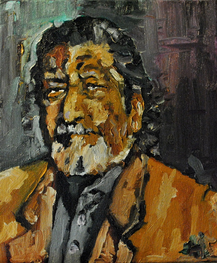 I am the sum of all my book - VS Naipaul, Oil on Canvas (by me)