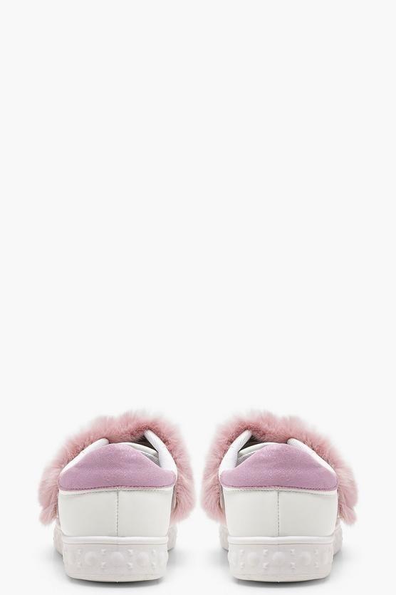 Kayla Faux Fur Strap Trainers | Boohoo