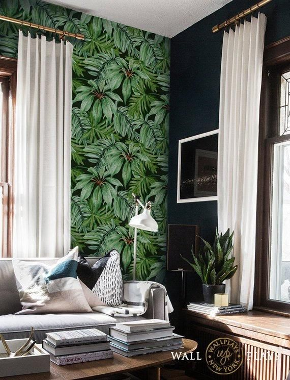 Jungle Leaves Removable Wallpaper Peel Stick Etsy Removable Wallpaper Home Design Decor Wallpaper Decor