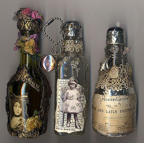 Left over glass bottles can be recycled by being used as altered art for decor!