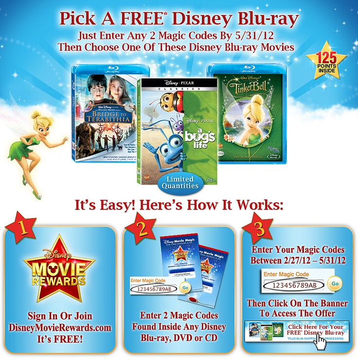 Disney Movie Rewards: Enter 2 Disney DVD or Blu-ray codes by 5/31/12 and receive one of three Disney Blu-ray titles for free.