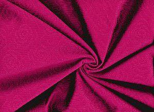 Bi-elastischer Dessousstoff  in rot mit Nadelstreifen und Rosenrelief